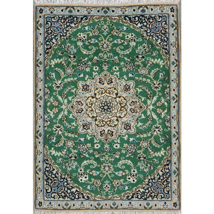 """https://www.armanrugs.com/   3' 1"""" x 4' 3"""" Green Nain Hand Knotted Wool & Silk Authentic Persian Rug"""