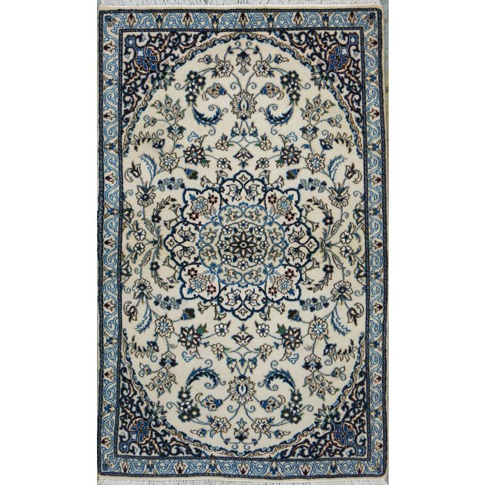 """https://www.armanrugs.com/   2' 9"""" x 4' 5"""" Beige Nain Hand Knotted Wool & Silk Authentic Persian Rug"""