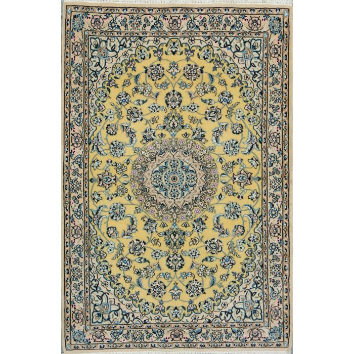 """https://www.armanrugs.com/   3' 5"""" x 5' 1"""" Gold Nain Hand Knotted Wool & Silk Authentic Persian Rug"""