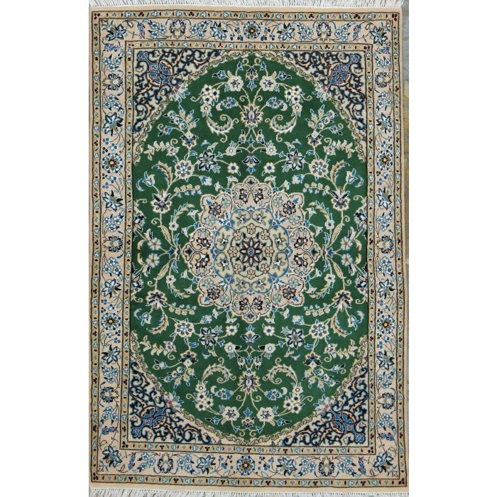 """https://www.armanrugs.com/   3' 1"""" x 4' 9"""" Green Nain Hand Knotted Wool & Silk Authentic Persian Rug"""