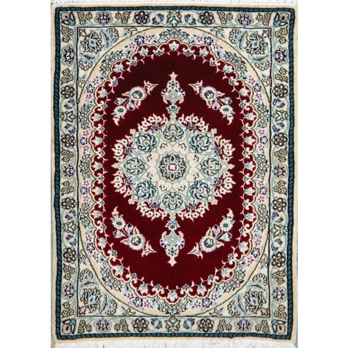 """https://www.armanrugs.com/   2' 3"""" x 2' 11"""" Red Nain Hand Knotted Wool & Silk Authentic Persian Rug"""