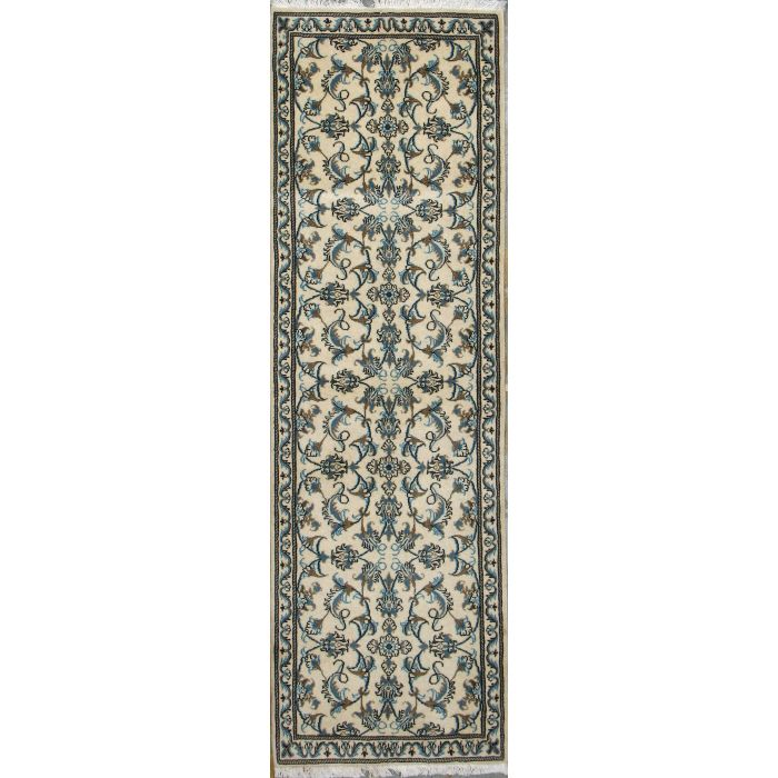 """https://www.armanrugs.com/   2' 7"""" x 8' 0"""" Beige Nain Hand Knotted Wool Authentic Runner Persian Rug"""