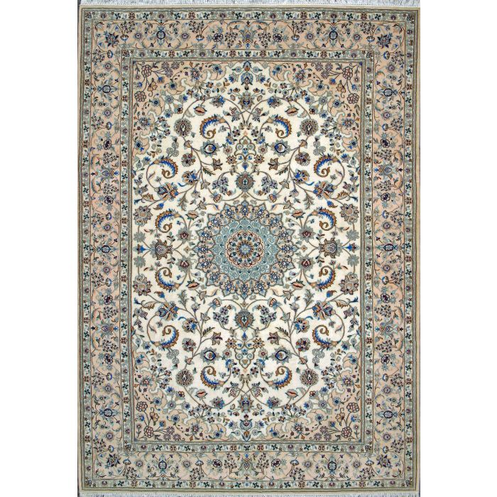 """https://www.armanrugs.com/   7' 0"""" x 9' 10"""" Beige Nain Hand Knotted Wool & Silk Authentic Persian Rug"""