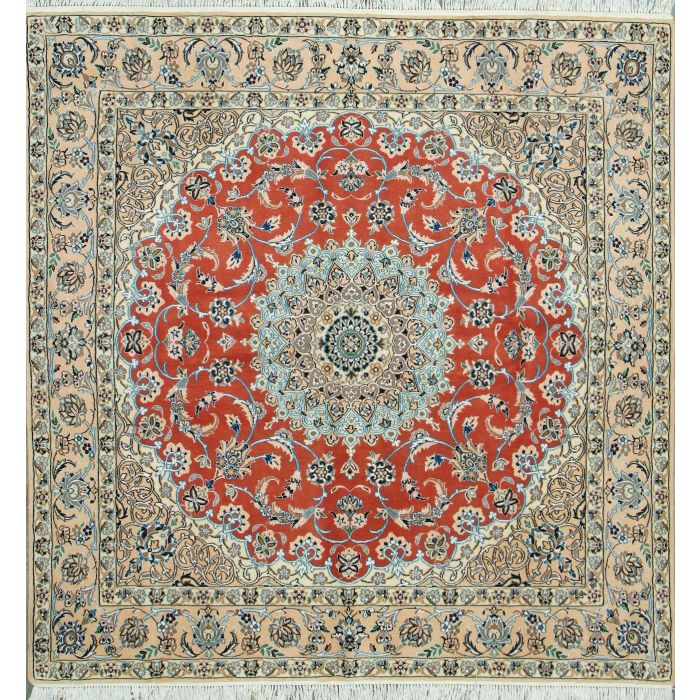"https://www.armanrugs.com/ | 6' 4"" x 6' 6"" Peach Nain Hand Knotted Wool & Silk Authentic Persian Rug"