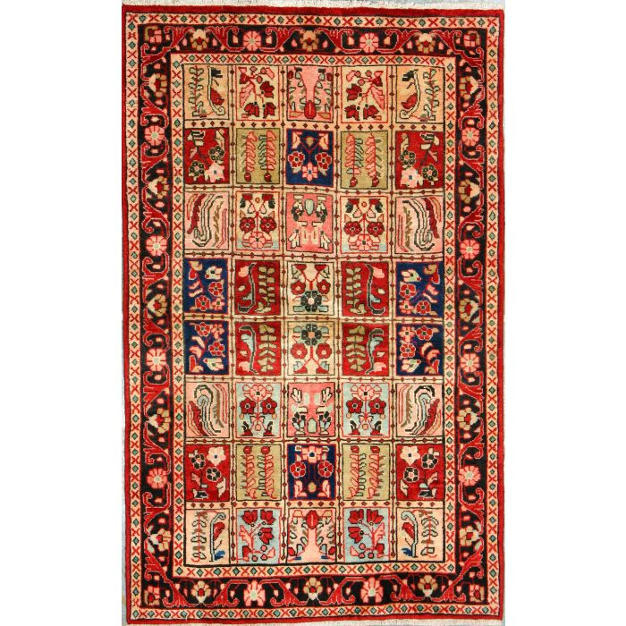 """https://www.armanrugs.com/   4' 3"""" x 6' 10"""" Red Bakhtiari Hand Knotted Wool Authentic Persian Rug"""