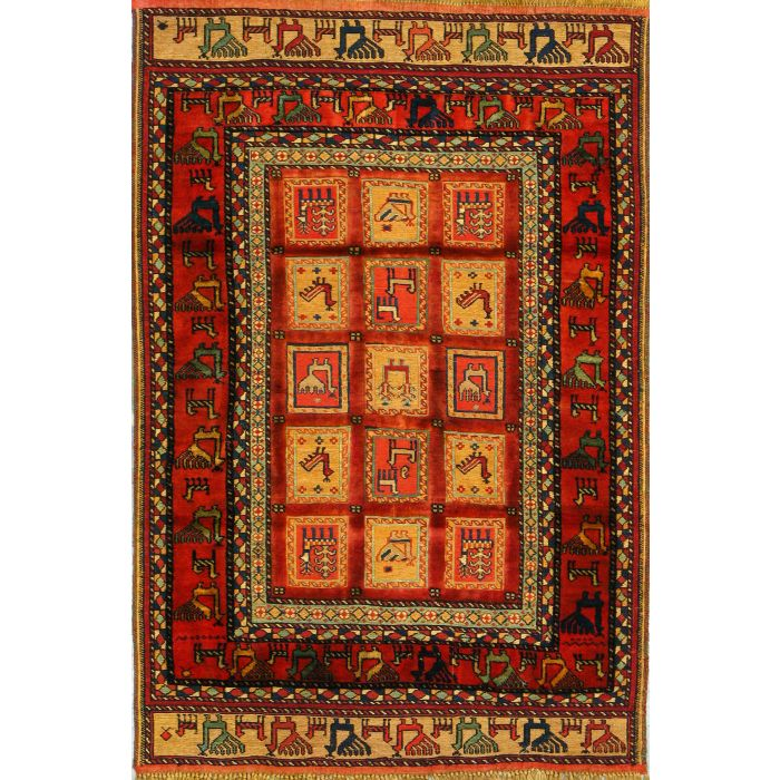 """https://www.armanrugs.com/   3' 3"""" x 4' 10"""" Red Ghochan Hand Knotted Wool Authentic Persian Rug"""
