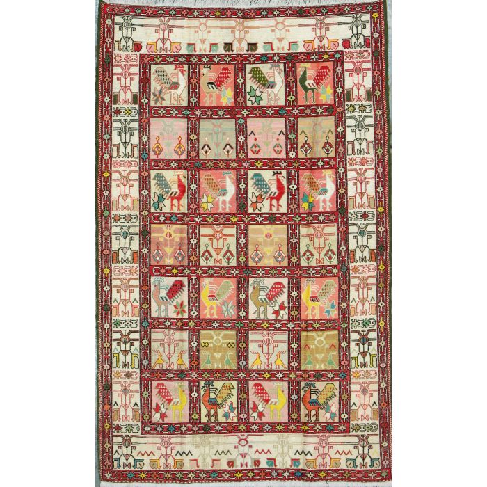 "https://www.armanrugs.com/   3' 11"" x 6' 2"" Beige kilim-silk Handmade Wool & Silk Authentic Persian Rug"
