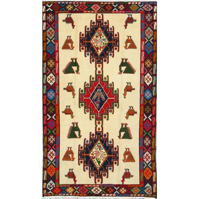 "https://www.armanrugs.com/   3' 9"" x 6' 6"" Beige kilim Handmade Wool Authentic Persian Rug"