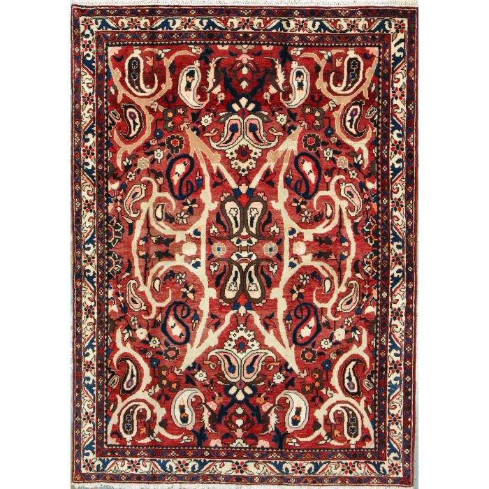 """https://www.armanrugs.com/   4' 11"""" x 6' 10"""" Red Bakhtiari Hand Knotted Wool Authentic Persian Rug"""