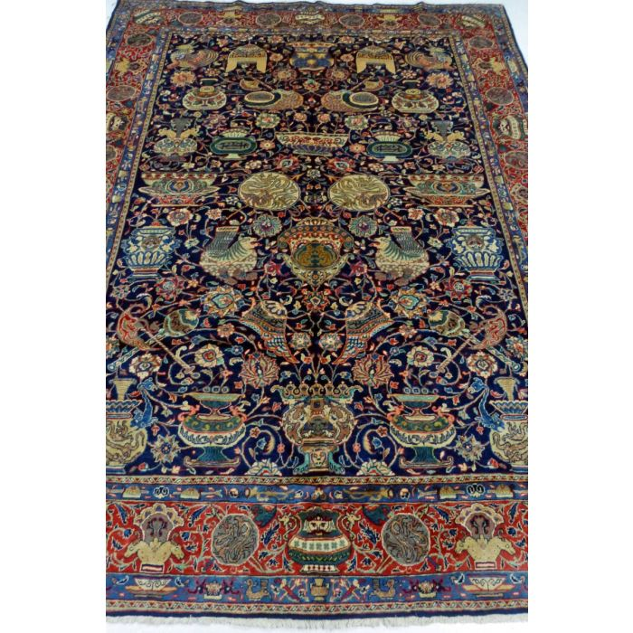 "https://www.armanrugs.com/ | 7' 3"" x 9' 7"" NavyBlue Sarough Handmade Wool Authentic Persian Rug"