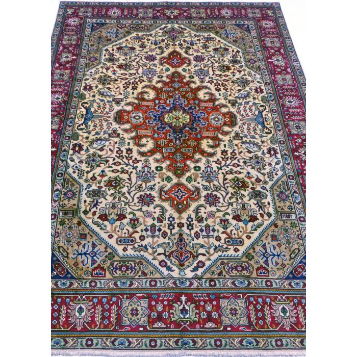 "https://www.armanrugs.com/ | 6' 7"" x 10' 2"" Beige Tabriz Handmade Wool Authentic Persian Rug"