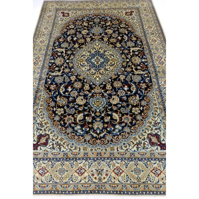 "https://www.armanrugs.com/   6' 9"" x 10' 0"" NavyBlue Nain Handmade Wool-Silk Authentic Persian Rug"