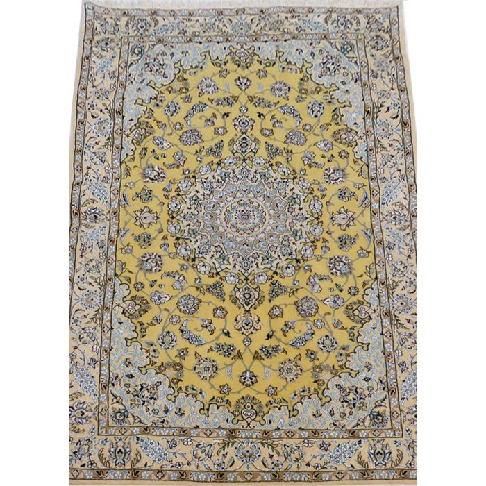 "https://www.armanrugs.com/ | 4' 8"" x 7' 5"" Yellow Nain Handmade Wool Authentic Persian Rug"