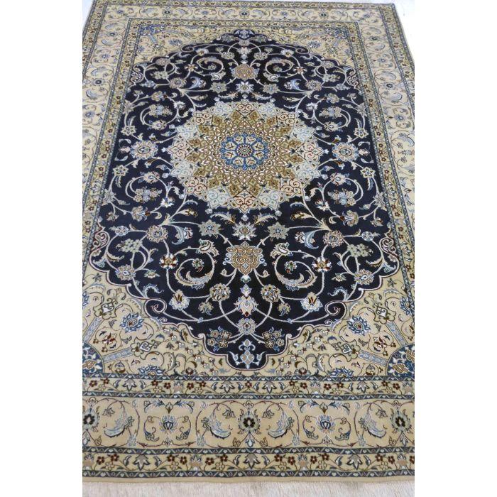 "https://www.armanrugs.com/ | 8' 2"" x 11' 2"" NavyBlue Nain Handmade Wool-Silk Authentic Persian Rug"