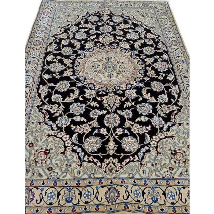 "https://www.armanrugs.com/ | 3' 11"" x 5' 11"" NavyBlue Nain Handmade Wool Authentic Persian Rug"
