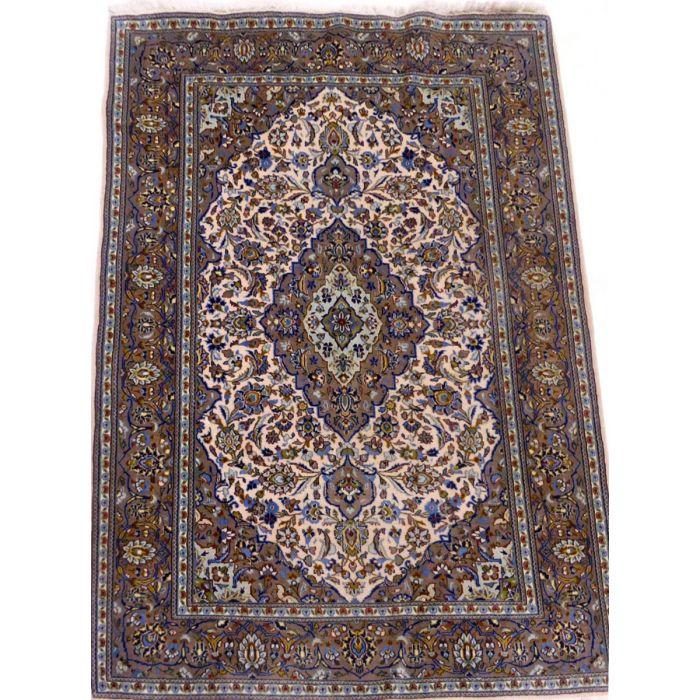 "https://www.armanrugs.com/ | 4' 11"" x 6' 7"" Beige Kashan Handmade Wool Authentic Persian Rug"