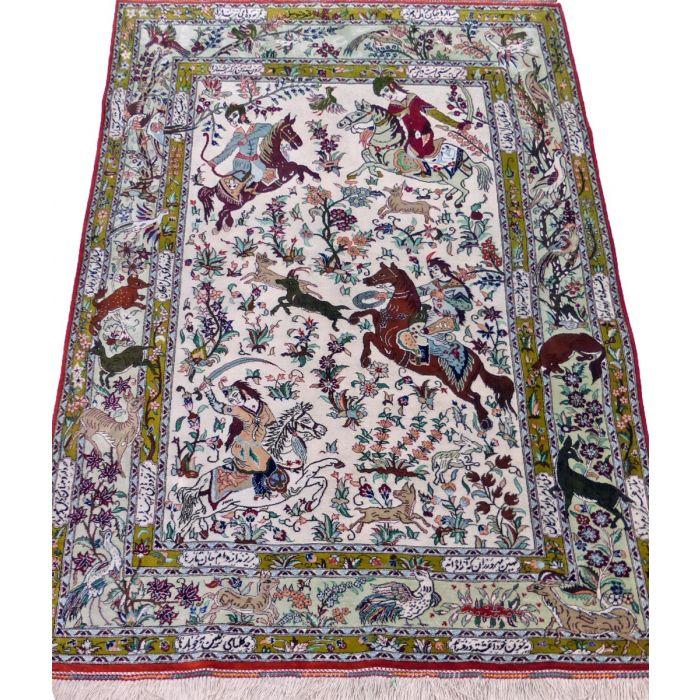 "https://www.armanrugs.com/ | 3' 5"" x 4' 11"" Beige Qom Handmade Silk Authentic Persian Rug"