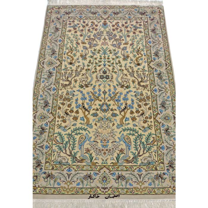 "https://www.armanrugs.com/   3' 6"" x 5' 2"" Beige Esfahan Handmade Wool-Silk Authentic Persian Rug"