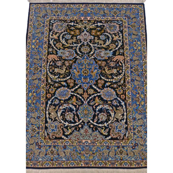 "https://www.armanrugs.com/ | 3' 8"" x 5' 3"" NavyBlue Esfahan Handmade Wool-Silk Authentic Persian Rug"
