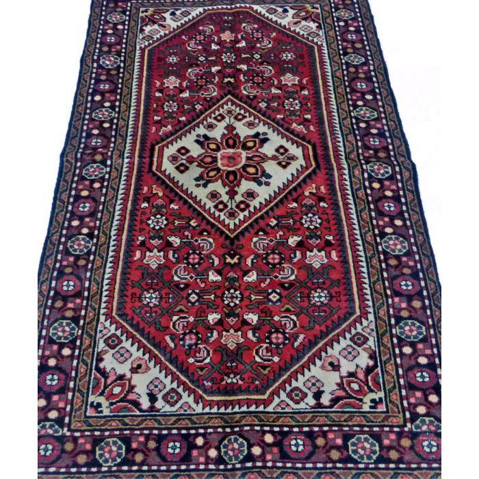 "https://www.armanrugs.com/ | 3' 6"" x 6' 2"" Red Hamadan Handmade Wool Authentic Persian Rug"