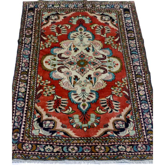 "https://www.armanrugs.com/ | 3' 7"" x 4' 12"" Red Hamadan Handmade Wool Authentic Persian Rug"