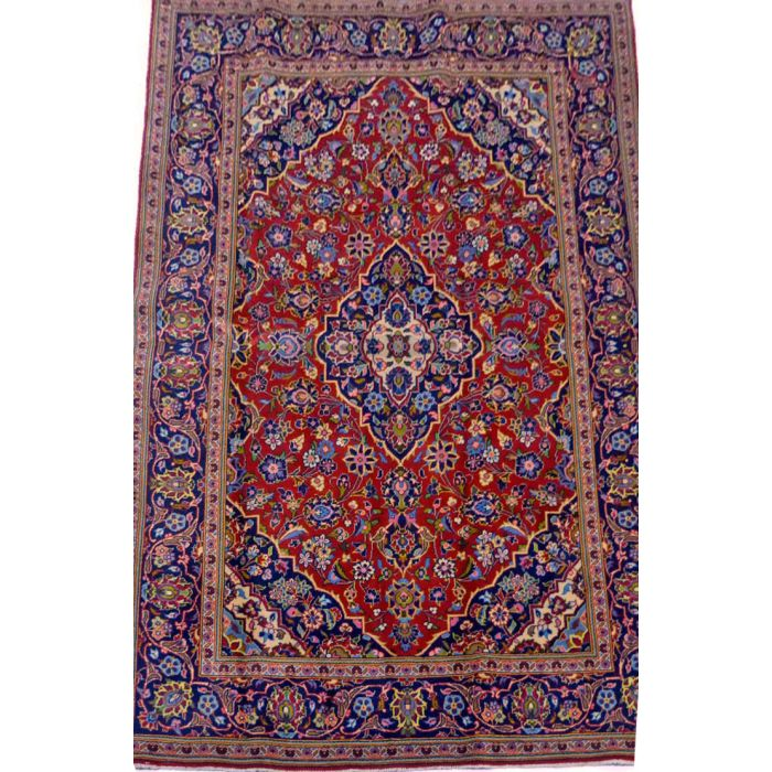 "https://www.armanrugs.com/ | 4' 5"" x 6' 11"" Red Kashan Handmade Wool Authentic Persian Rug"