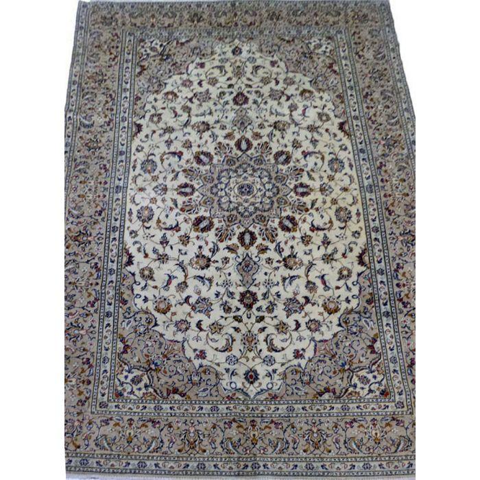 "https://www.armanrugs.com/   6' 5"" x 9' 9"" Beige Kashan Handmade Wool Authentic Persian Rug"