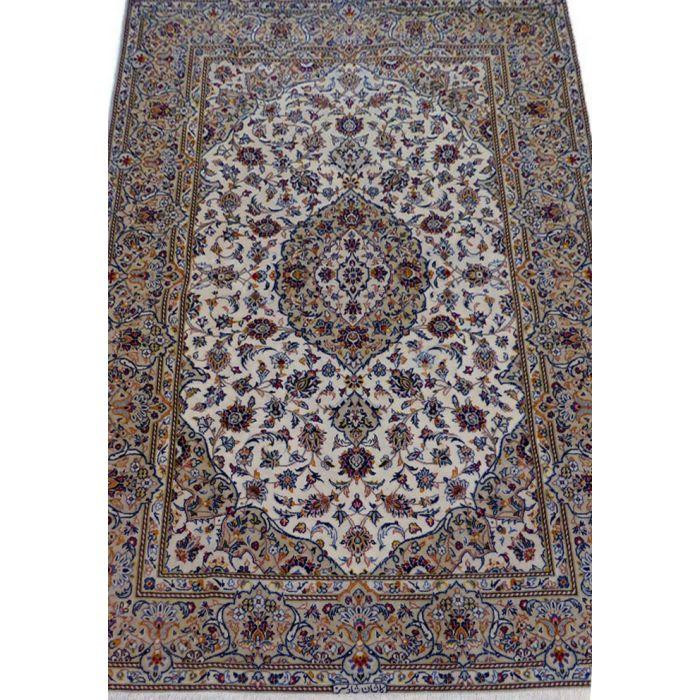 "https://www.armanrugs.com/ | 4' 7"" x 6' 11"" Beige Kashan Handmade Wool Authentic Persian Rug"