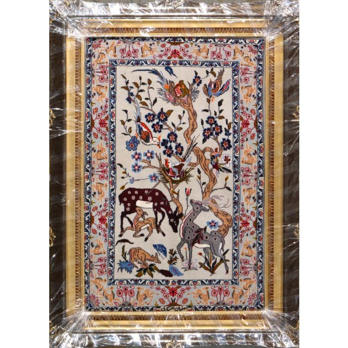 """https://www.armanrugs.com/   2' 4"""" x 3' 6""""  Ivory Esfahan Hand Knotted Wool & Silk Authentic Persian Rug"""
